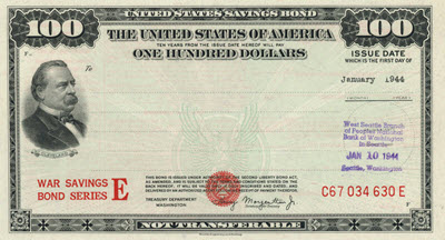 1944 $100 War Savings Bond Series E